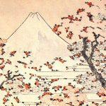 El monte Fuji visto a través de cerezos florecidos, por Hokusai a través de Wikipedia Commons.
